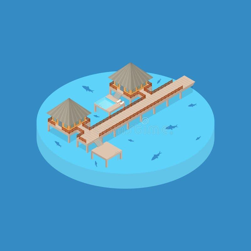 Het Elementen 3d Isometrische Mening van de strandvakantie Vector stock illustratie
