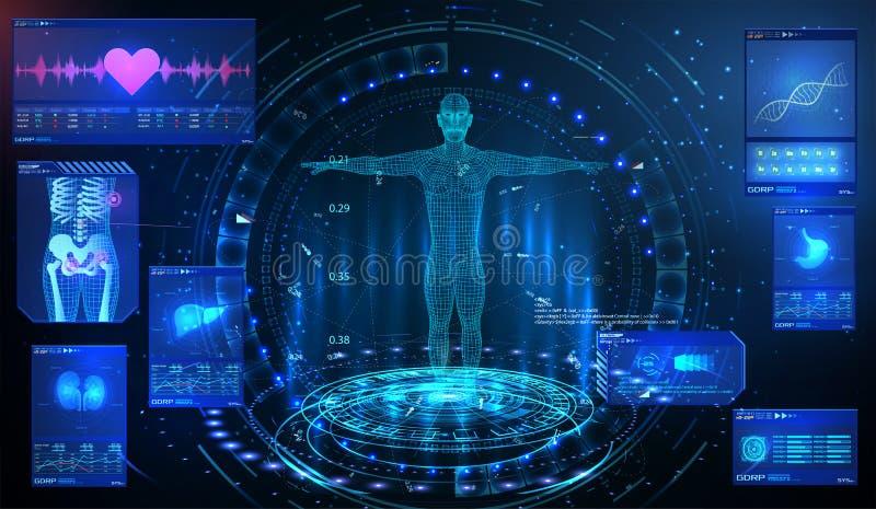 Het elementen ui algemeen medisch onderzoek van HUD UI GUI Toon een reeks virtuele interfaceelementen Gezondheidstechnologie Futu royalty-vrije illustratie