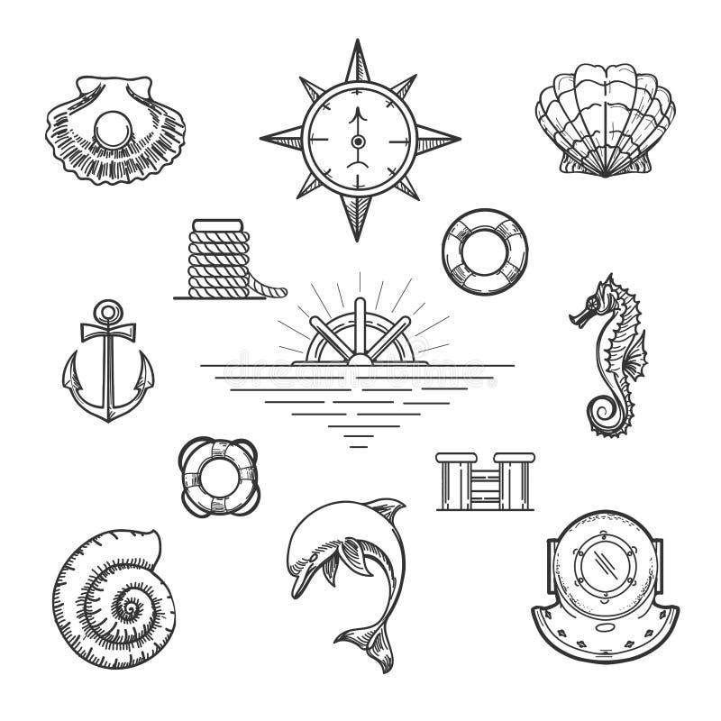 Het Elementenreeks van het krabbel Zeevaartdecor royalty-vrije illustratie