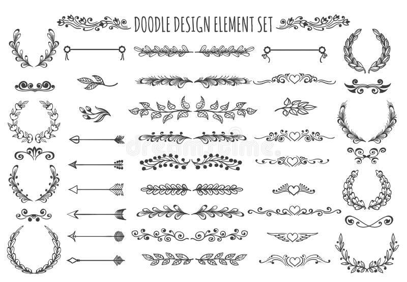 Het Elementenreeks van het krabbelontwerp vector illustratie