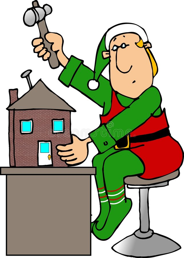 Het Elf dat van Kerstmis een Huis van Doll bouwt royalty-vrije illustratie