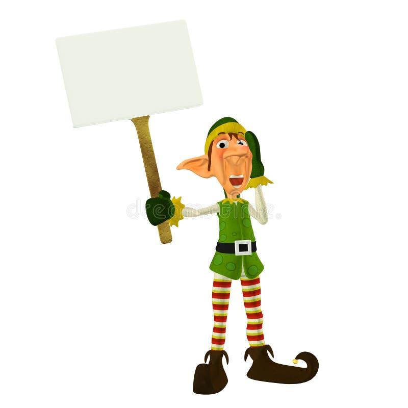 Het Elf van Kerstmis met Teken royalty-vrije illustratie