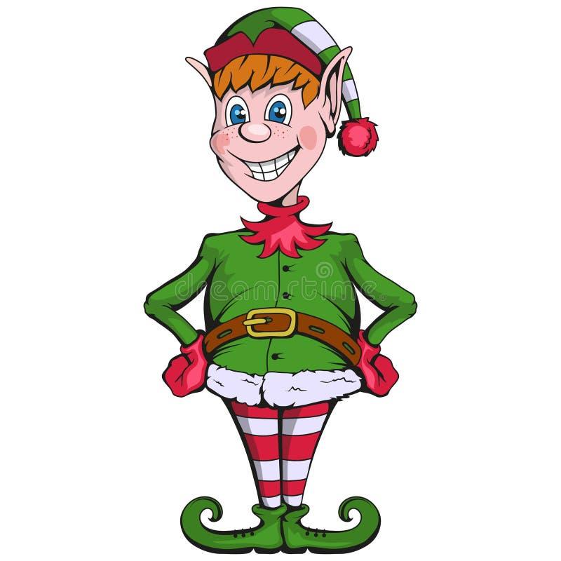 Het elf van Kerstmis Reeks verschillende elf voor Kerstmis Verschillende nieuwe jaarkarakters Santa Claus-helpers De Karakters va royalty-vrije illustratie