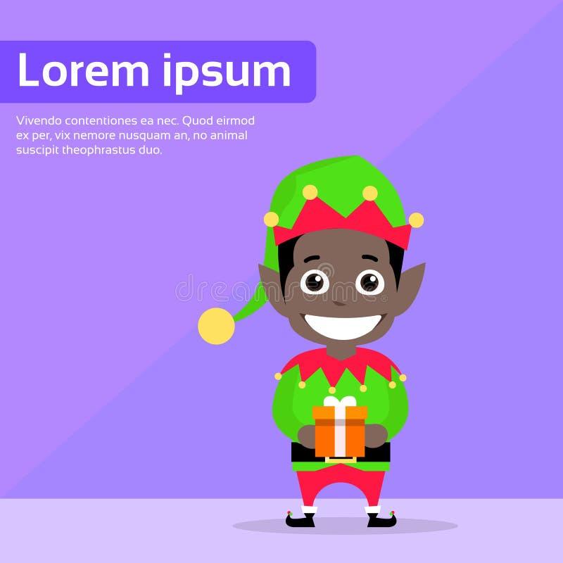 Het Elfbeeldverhaal van het Kerstmis Afrikaans Amerikaans Ras vector illustratie
