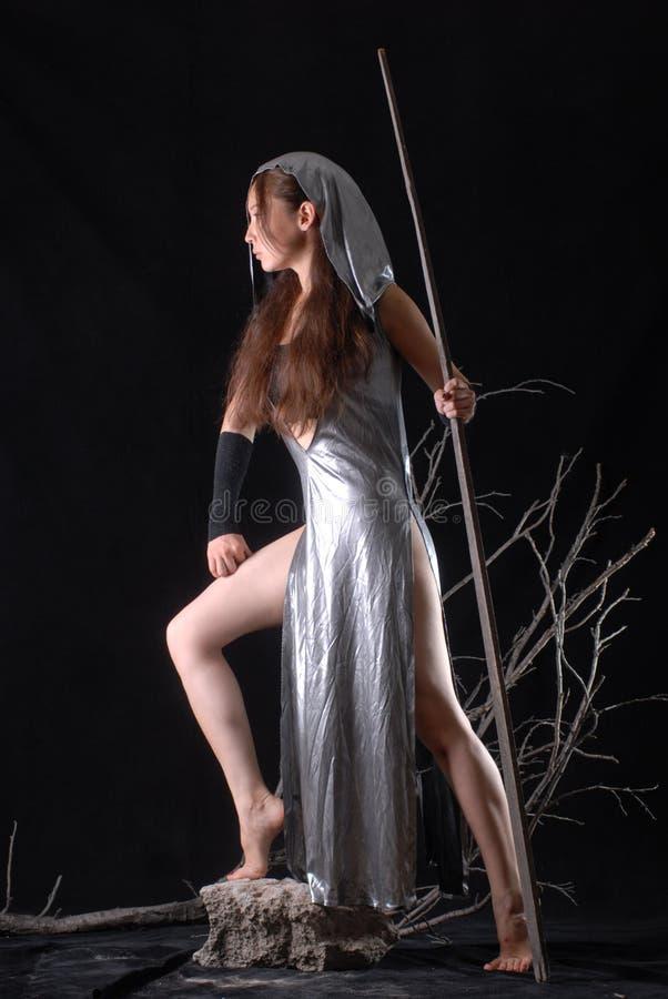 Het elfstrijder van het feemeisje op een zwarte achtergrond stock foto's