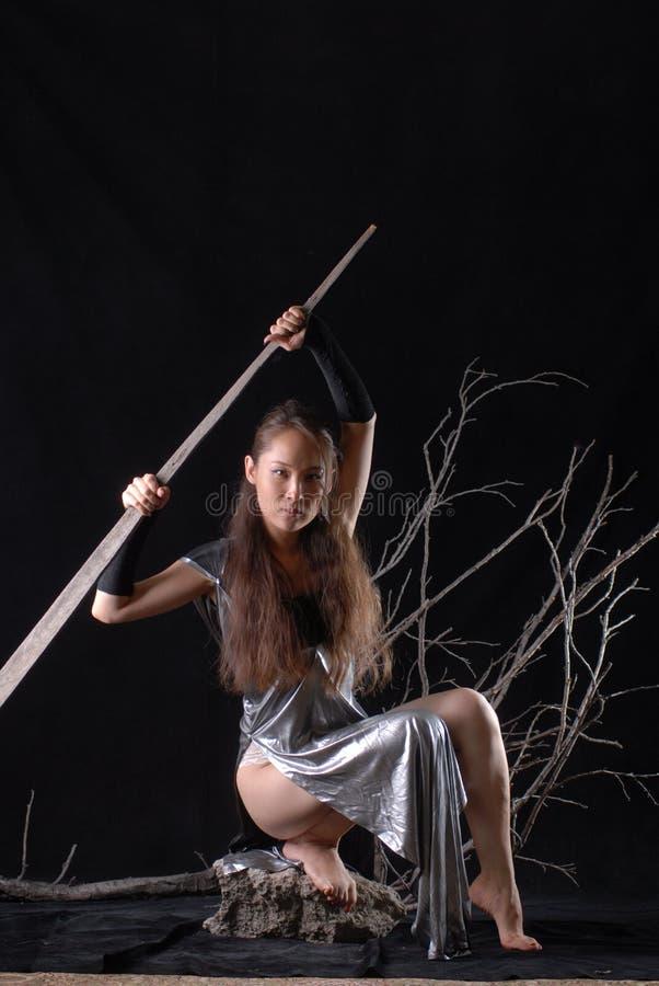 Het elfstrijder van het feemeisje op een zwarte achtergrond stock fotografie