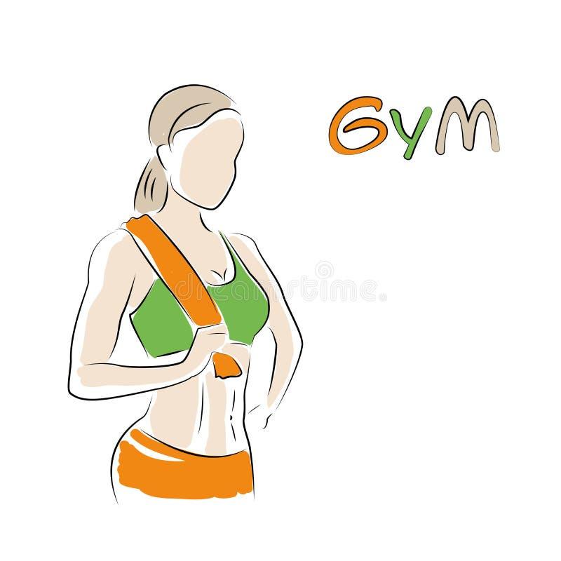 Het embleem of de banner van de geschiktheidsclub met vrouwensilhouet vector illustratie