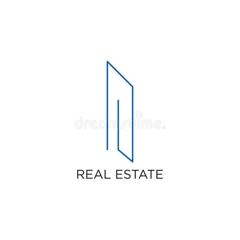 Het Embleem, de Bouw, of het Huis van Real Estate, Ontwerpvector met Lijn, lineair, stijl, of monolijn royalty-vrije illustratie