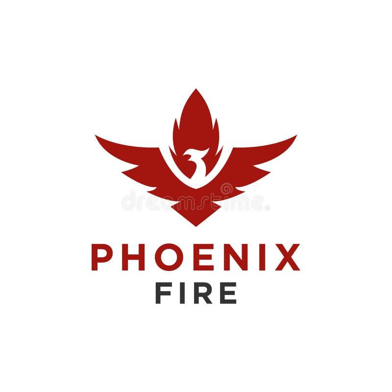 Het embleem of de havik van Eagle, vogel, het symbool van Phoenix en de stijl van de pictogramluxe stock illustratie