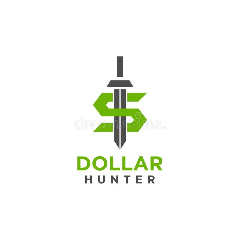 Het embleem of de illustratieontwerp van de dollarjager met zwaardsymbool royalty-vrije illustratie