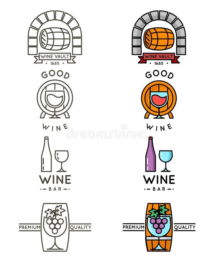 Het embleem of de wijnmakerij van de wijnlijn logotype plaatst vector stock illustratie