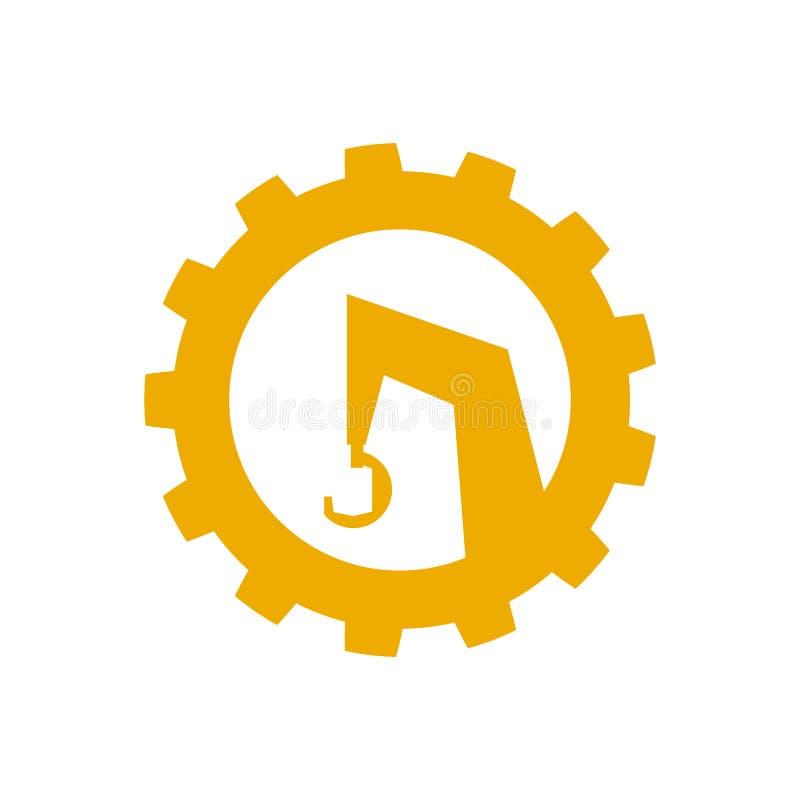 Het embleem, een pictogram van de bouwkraan Speciale apparatuur Vector illustratie Vlakke stijl stock illustratie