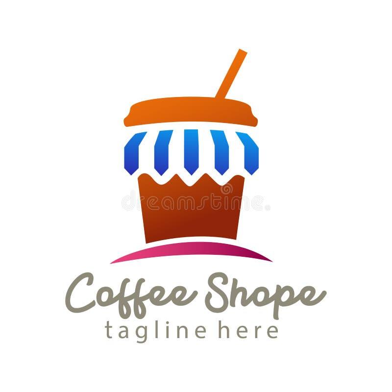 Het embleem en het pictogramontwerp van de koffiewinkel stock illustratie
