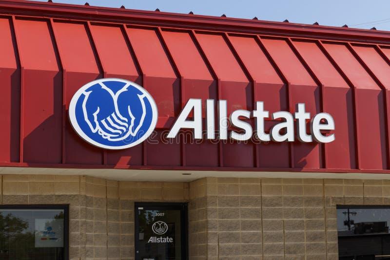 Het Embleem en Signage van de Allstateverzekering Het Allstate-Bedrijf is de tweede - grootste persoonlijke lijnenverzekeraar in  stock foto