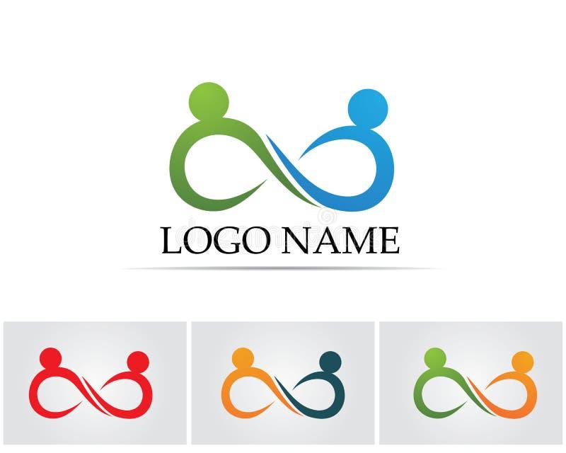Het embleem en het symboolmalplaatjepictogrammen app van oneindigheidsmensen vector illustratie
