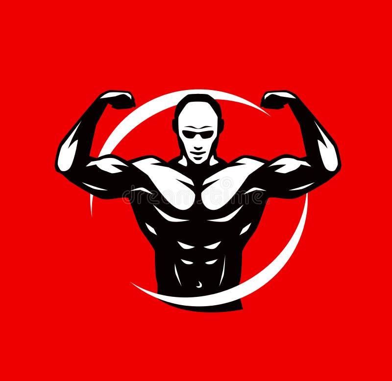Het embleem of het etiket van de gymnastiekclub Sport, bodybuilding symbool Vector illustratie royalty-vrije illustratie