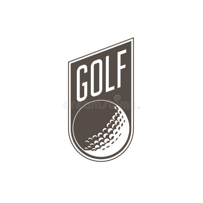 Het embleem of het etiket van golftoernooien - golfbal vector illustratie