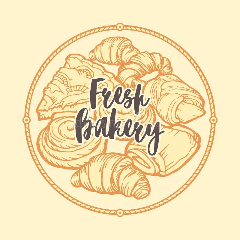Het embleem, het kenteken en het embleem van de bakkerijwinkel Heerlijke croissants, pastei en broodjes Uitstekend ontwerp stock illustratie