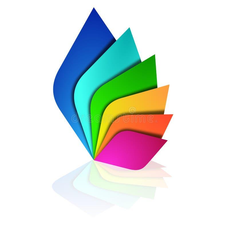 Het embleem kleurt bladeren stock illustratie