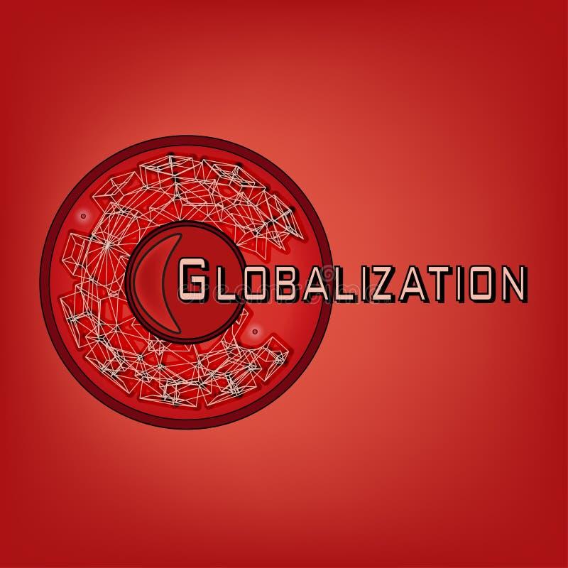 Het embleem op het thema van globalisering goed, of om het even welk van uw optie in rood stock illustratie