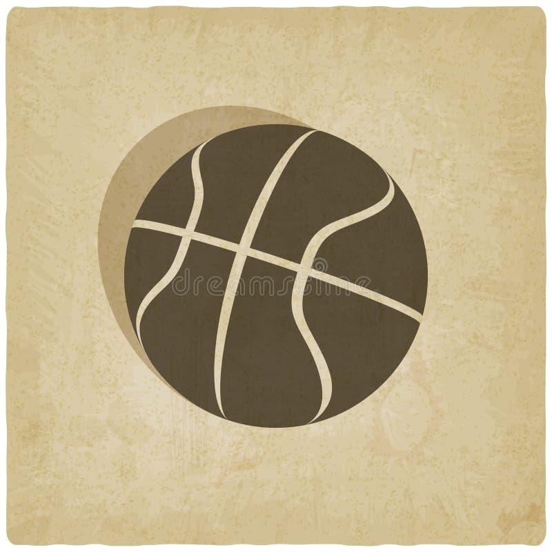 Het embleem oude achtergrond van het sportbasketbal vector illustratie