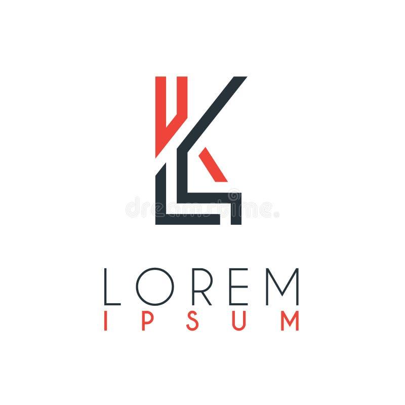 Het embleem tussen de brief L en brief K of LK met een bepaalde afstand en verbonden door oranje en grijze kleur stock illustratie