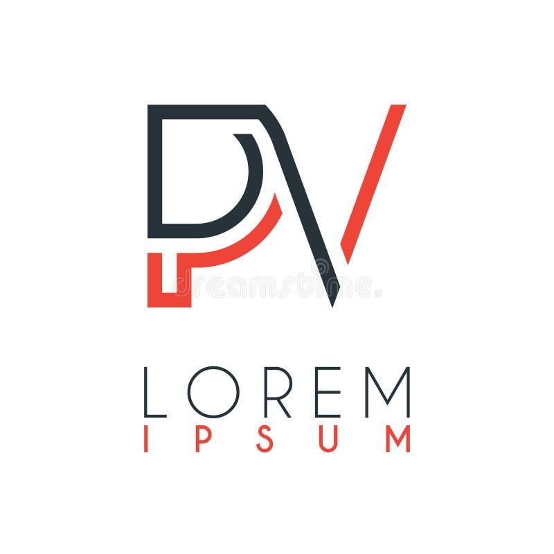 Het embleem tussen de brief P en brief V of PV met een bepaalde afstand en verbonden door oranje en grijze kleur royalty-vrije illustratie