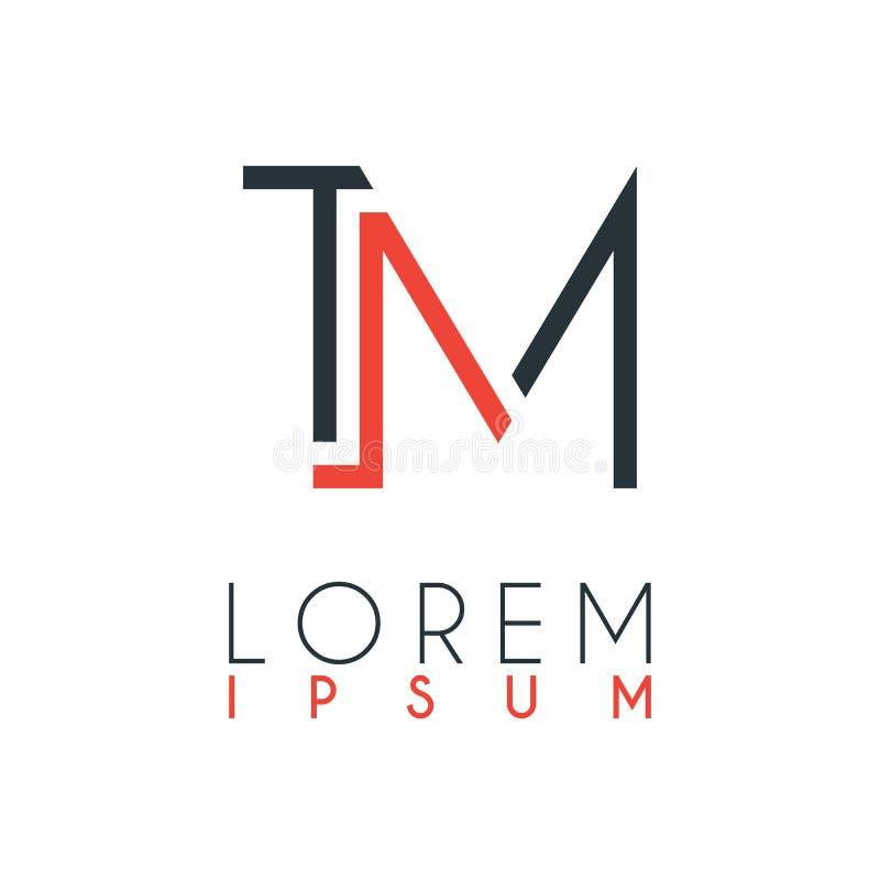 Het embleem tussen de brief T en brief M of TM met een bepaalde afstand en verbonden door oranje en grijze kleur royalty-vrije illustratie