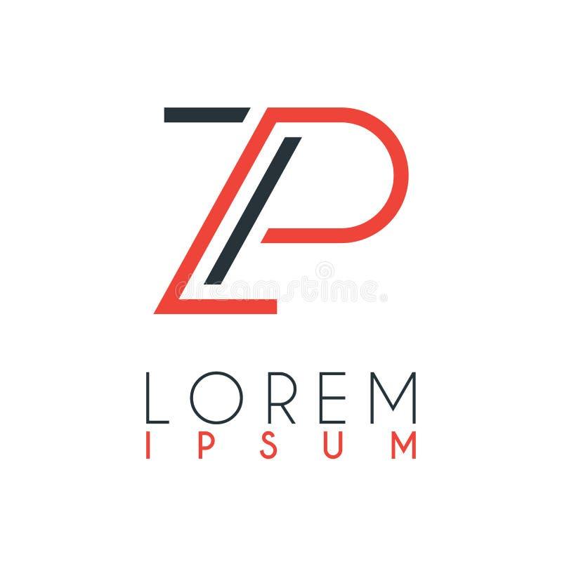 Het embleem tussen de brief Z en brief P of ZP met een bepaalde afstand en verbonden door oranje en grijze kleur vector illustratie