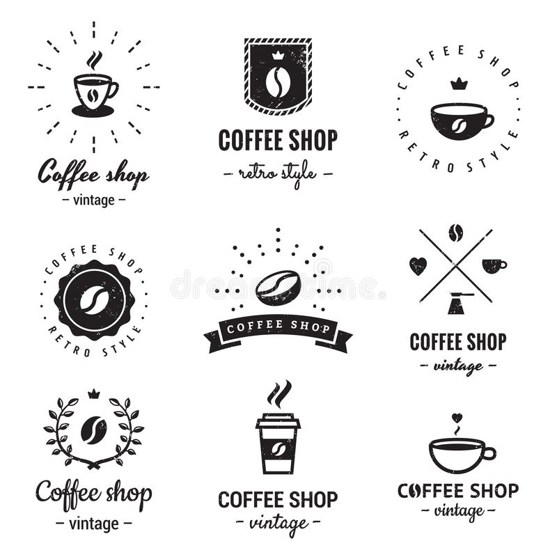 Het embleem uitstekende vectorreeks van de koffiewinkel Hipster en retro stijl royalty-vrije illustratie