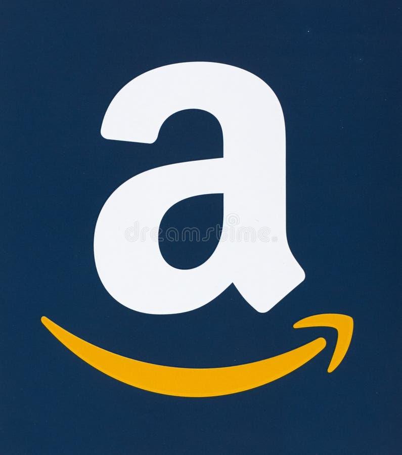 Het embleem van Amazonië op papier wordt gedrukt die stock afbeelding