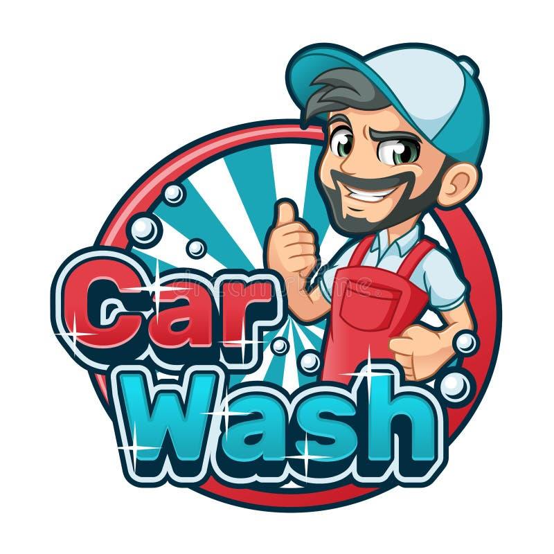 Het Embleem van het autowasserettebeeldverhaal met de Mens die Autowasseretteschort gebruiken vector illustratie