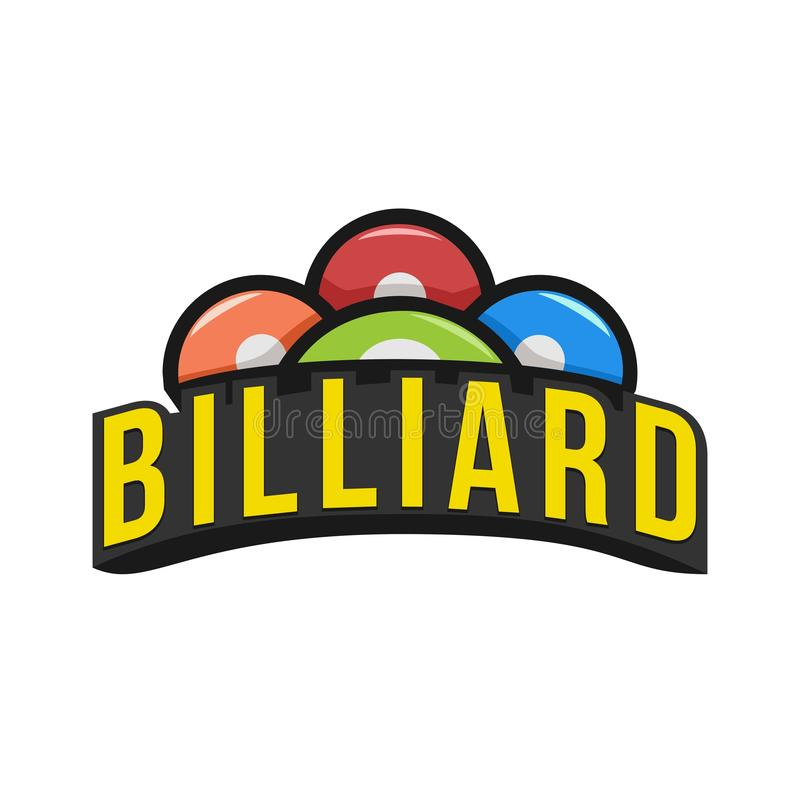 Het embleem van biljartsporten emblemen met biljartballen met witte achtergrond stock afbeelding