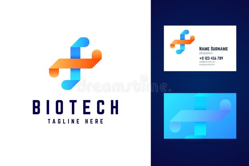 Het embleem van biotechnologiedna en adreskaartjemalplaatje royalty-vrije illustratie