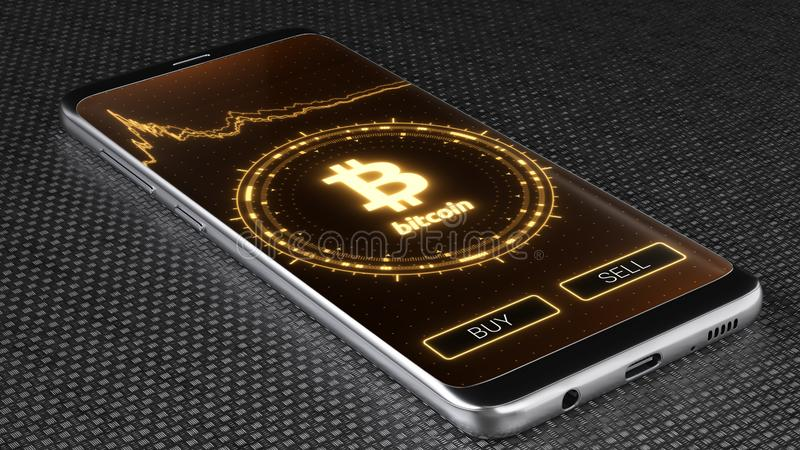 Het embleem van Bitcoincryptocurrency op de PC-tablet, 3D illustratie stock illustratie