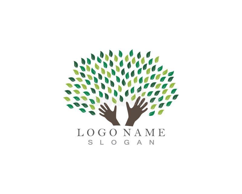 Het embleem van boomhanden stock illustratie