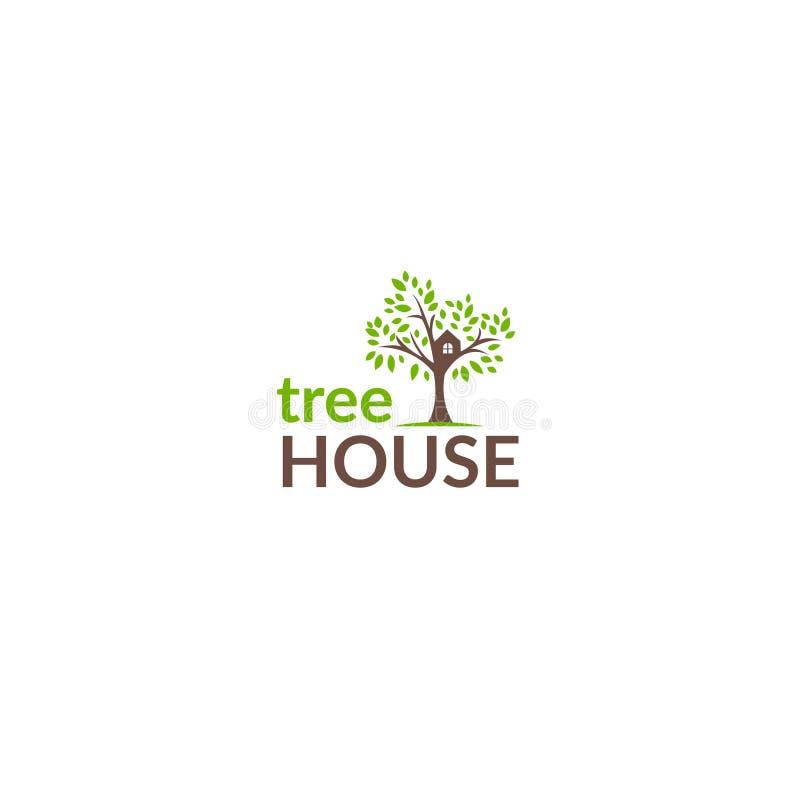 Het embleem van het boomhuis - Voorraadvector royalty-vrije illustratie