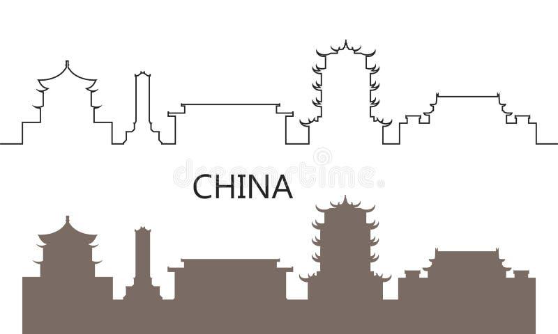 Het embleem van China De geïsoleerde architectuur van China op witte achtergrond vector illustratie