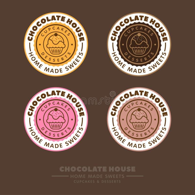 Het embleem van het chocoladehuis Koffieetiket Cupcakes en brieven in een kleurrijke cirkel op een bruine achtergrond stock illustratie
