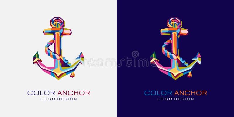 Het Embleem van het Colorfullyanker Ankerembleem Creatief embleempictogram stock afbeelding