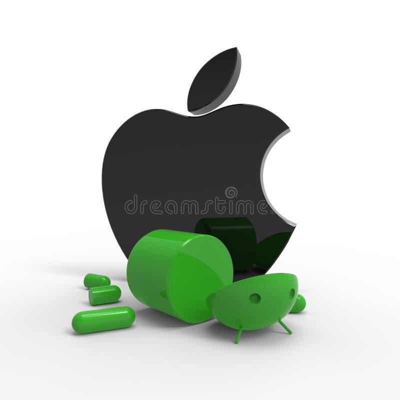 Het embleem van de appel versus Androïde embleem. Geïsoleerde. royalty-vrije illustratie