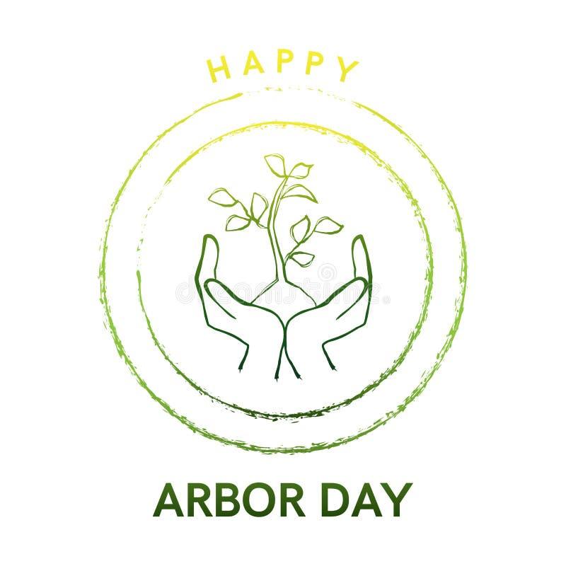 Het embleem van de asdag met boom en handen vector illustratie