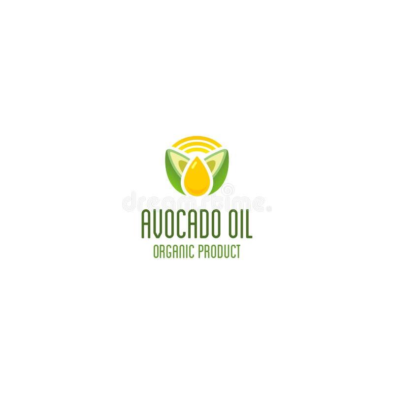 Het embleem van de avocadoolie Biologisch product vectorembleem royalty-vrije illustratie
