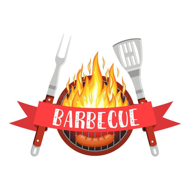 Het embleem van de barbecuepartij royalty-vrije illustratie