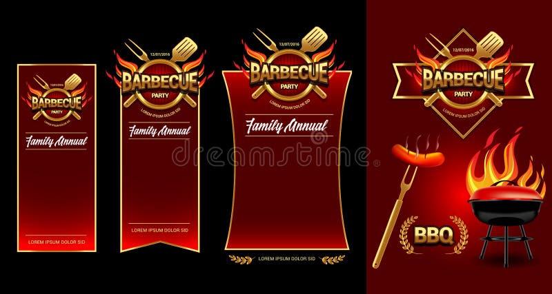 Het embleem van de barbecuepartij, partijbanner, uitnodigingsmalplaatje BBQ het ontwerp van het brochuremenu Vector illustratie stock illustratie