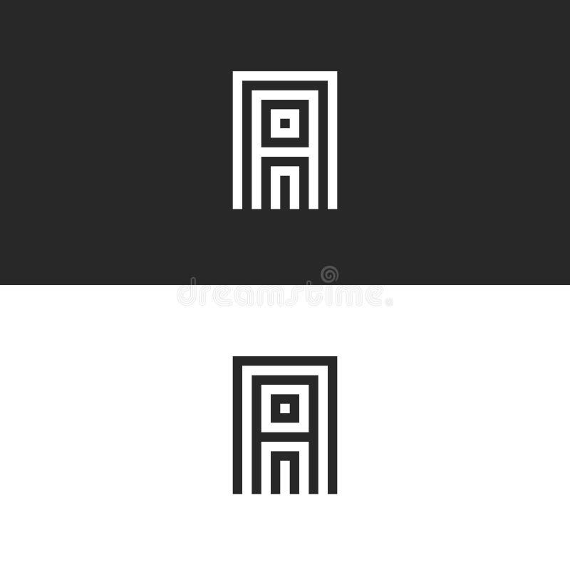 Het embleem van de beginkapitaala brief, eenvoudigste monogram, minimaal stijl lineair embleem, parallelle lijnen geometrische vo royalty-vrije illustratie