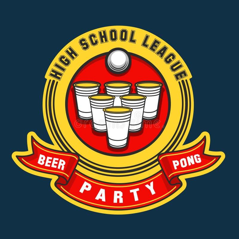 Het embleem van de bier pong partij royalty-vrije illustratie