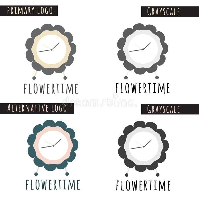 Het Embleem van de bloemtijd royalty-vrije stock afbeelding
