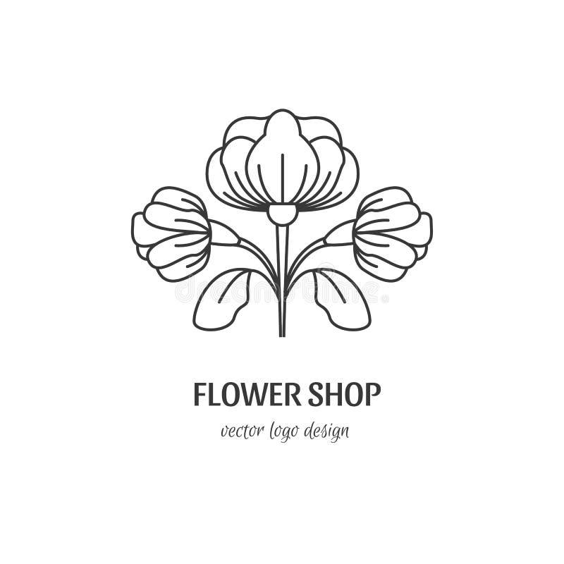 Het embleem van de bloemwinkel stock illustratie