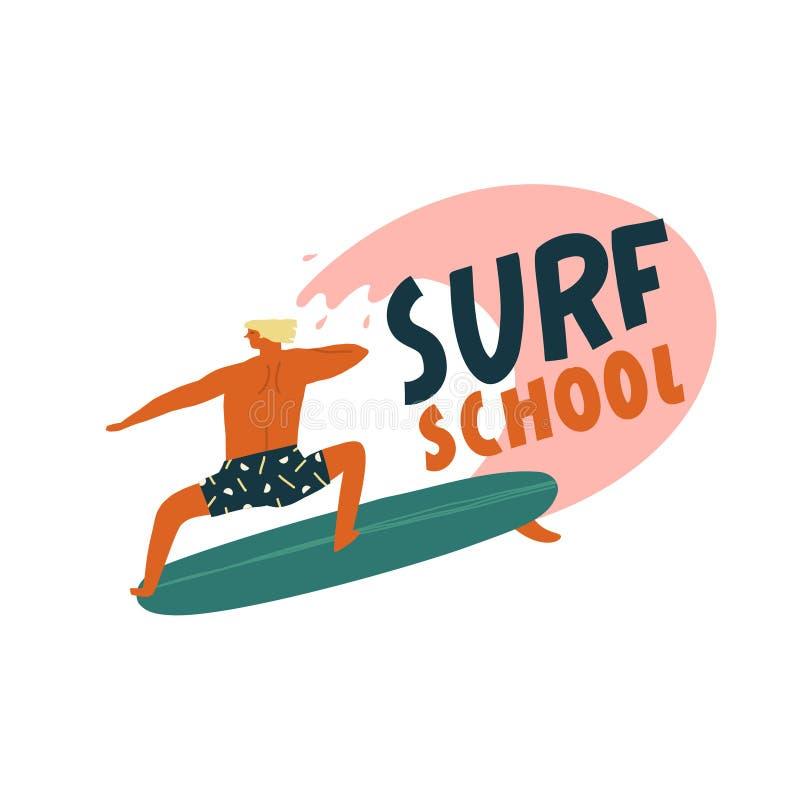 Het embleem van de brandingsschool met grappige karaktersurfer die de golf vangen De zomerstrand het surfen illustratie in vector stock illustratie